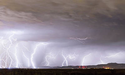 Photograph - Lightning Thunderstorm Extreme Weather Over Golden Colorado by James BO Insogna