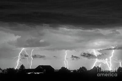 Lightning Thunderstorm July 12 2011 Strikes Over The City Bw Art Print by James BO  Insogna