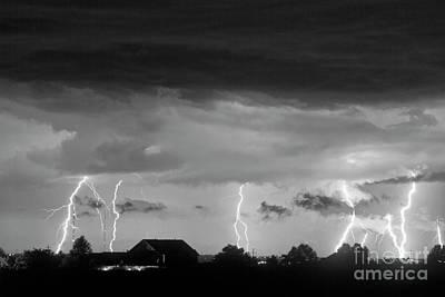 Lightning Thunderstorm July 12 2011 Strikes Over The City Bw Art Print