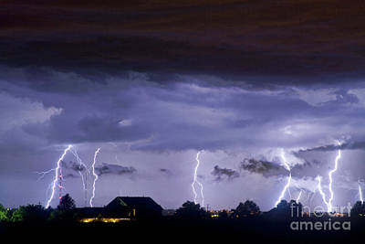 Lightning Thunderstorm July 12 2011 Strikes Over The City Art Print by James BO  Insogna