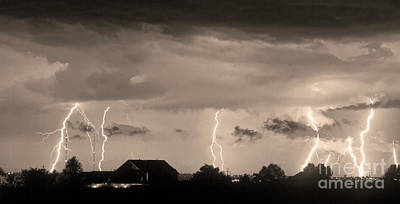 Lightning Thunderstorm July 12 2011 Strikes Over The City Sepia Art Print by James BO  Insogna