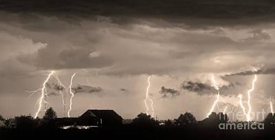 Lightning Thunderstorm July 12 2011 Strikes Over The City Sepia Art Print