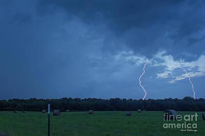 Photograph - Lightning Twins Dusk Thunderstorm Lightning Weather Art by Reid Callaway