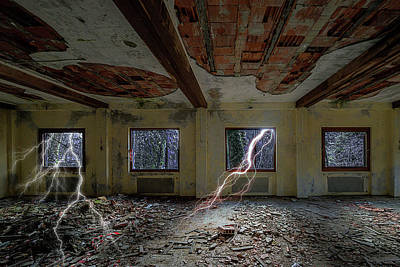 Photograph - Lightnings On The Abandoned Hotel Of Liguria Mountains - Fulmini Su Hotel Abbandonato Sull'av by Enrico Pelos