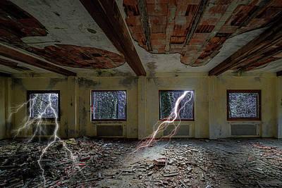 Photograph - Lightnings On The Abandoned Hotel Of Liguria Mountains - Fulmini Su Hotel Abbandonato Sull'av by Enrico Pelos