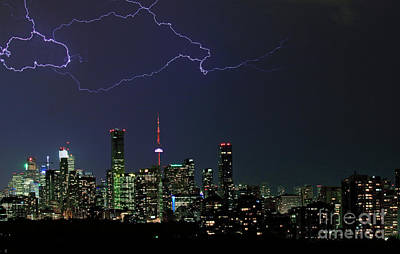 Photograph - Lightnings Over Toronto by Charline Xia