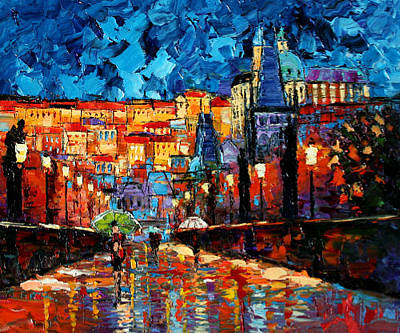 Vltava River Painting - Lights Along Charles Bridge by Andre Dluhos