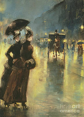 Rain Hat Painting - Lights At Night, 1889 by Lesser Ury