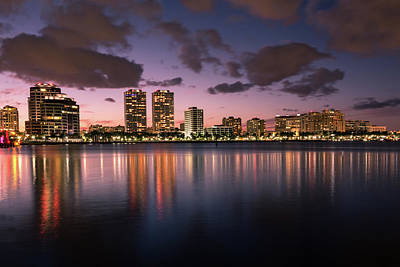 Photograph - Lights At Night In West Palm Beach by Debra and Dave Vanderlaan