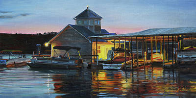 Painting - Lights At The Cliffs Marina by Emily Olson