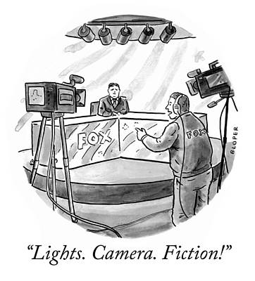 Tv Drawing - Lights Camera Fiction by Brendan Loper