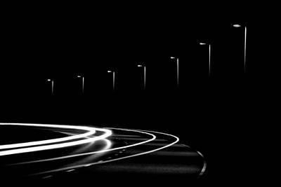 Abstract Movement Photograph - Lights In The Night by Gert Lavsen