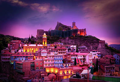 Tbilisi Photograph - Lights In The Old Town by John Wright