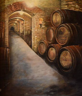 Painting - Lights In The Wine Cellar - Chateau Meichtry - Talking Rock, Ga by Jan Dappen