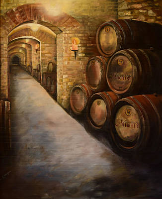 Wine Barrel Painting - Lights In The Wine Cellar - Chateau Meichtry Vineyard by Jan Dappen