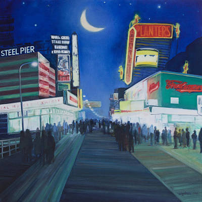 Moon Walk Painting - Lights Of Ac by Suzn Smith