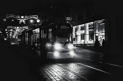 Photograph - Lights Of Night Tram. Black And White by Jenny Rainbow