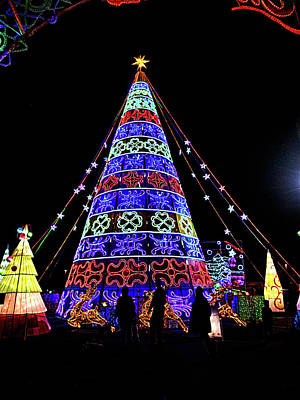 Photograph - Lights Of The World Christmas Tree by C H Apperson