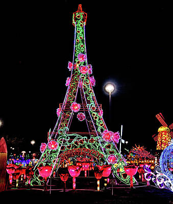Photograph - Lights Of The World Eiffel Tower by C H Apperson
