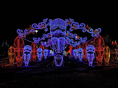 Photograph - Lights Of The World Tribal Masks by C H Apperson