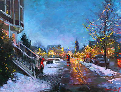 Street Car Painting - Lights On Elmwood Ave by Ylli Haruni