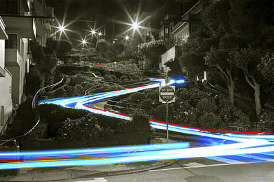 Photograph - Lights On Lombard Black And White by Bryant Coffey