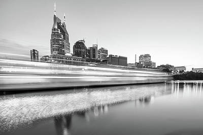 Photograph - Lights On The Cumberland River - Nashville Tennessee Skyline - Black And White Edition by Gregory Ballos