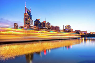 Lights On The Cumberland River - Nashville Tennessee Skyline  Art Print