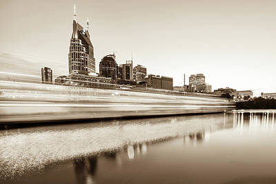 Photograph - Lights On The Cumberland River - Nashville Tennessee Skyline - Sepia Edition by Gregory Ballos