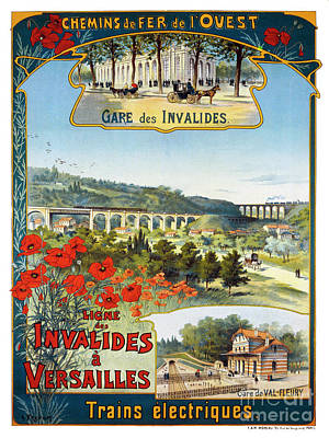Ligne Painting - Ligne Des Invalides A Versailles, French Travel Poster by Pablo Romero