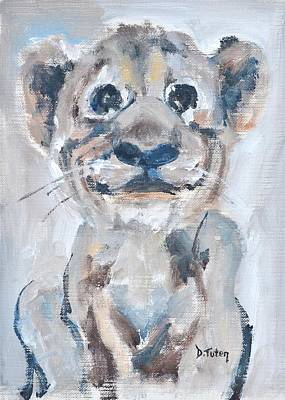 Painting - Lion Cub Safari Animal Painting by Donna Tuten