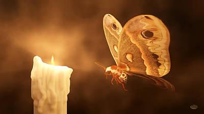 Moth-butterflies Digital Art - Like A Moth To A Flame by Daniel Eskridge