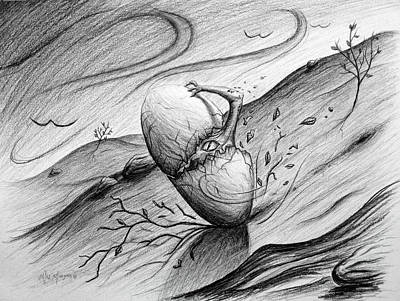 Drawing - Like A Rolling Egg by Michael Morgan
