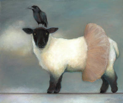 Crow Painting - ...like Lambs.. by Katherine DuBose Fuerst