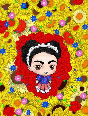 Frida Drawing - Lil Frida by Rene Lopez