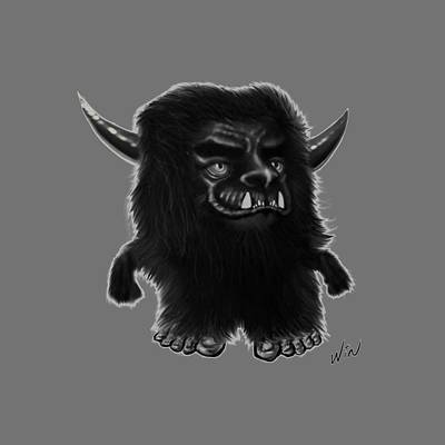 Cartton Digital Art - Lil Fuzzy Monster Black Ver. by Winston Wesley Art