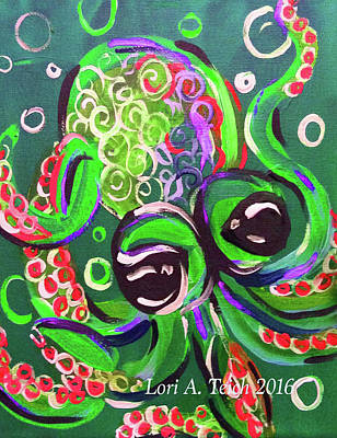 Cartoony Painting - Lil Guy Octopi by Lori Teich