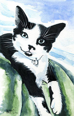 Painting - Lil Kittens Can Smile - Tuxedo Cat Portrait by Dora Hathazi Mendes