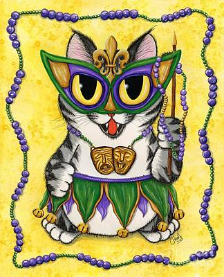 Mixed Media - Lil Mardi Gras Cat by Carrie Hawks