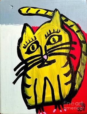 Disco Mixed Media - Lil Missy The Yellow Prissy Kitty by Scott D Van Osdol
