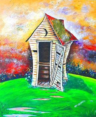 Tin Roof Painting - Lil Outhouse by Arthur Covington
