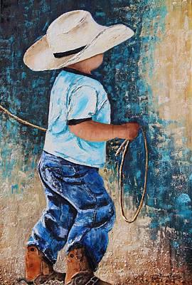 Little Boy Mixed Media - Li'l Rustler by Patricia Pasbrig