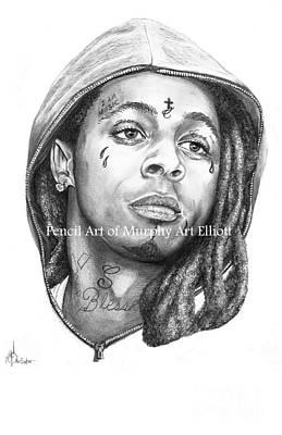 Musican Drawing - Lil Wayne by Murphy Elliott
