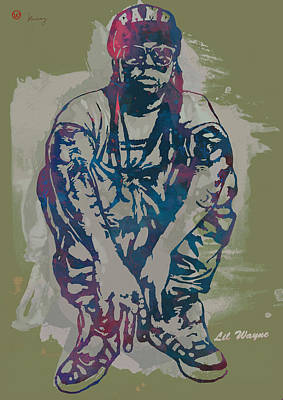 Hot Mixed Media - Lil Wayne Pop Stylised Art Poster by Kim Wang