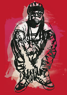 Hop Drawing - Lil Wayne Pop Stylised Art Sketch Poster by Kim Wang