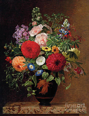 Marble Flower Vases Painting - Lilac, Apple Blossom, Cornflowers And Sweet Williams With A Pot Of Violas On A Ledge by Johan Laurents Jensen
