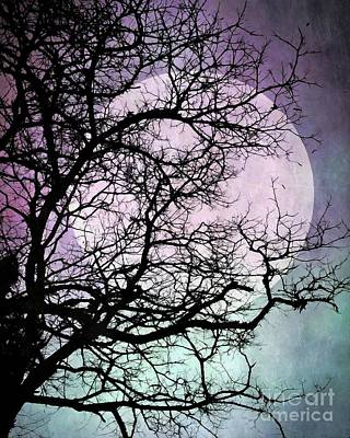 Mixed Media - Lilac Blue Moon Silhouette by Patricia Strand