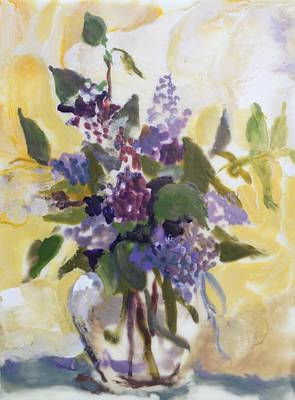 Lilac Painting - Lilac Bouquet Encaustic Painting by Donna Tuten