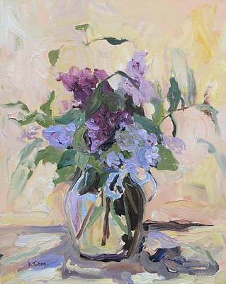 Lilac Painting - Lilac Bouquet Oil Painting by Donna Tuten