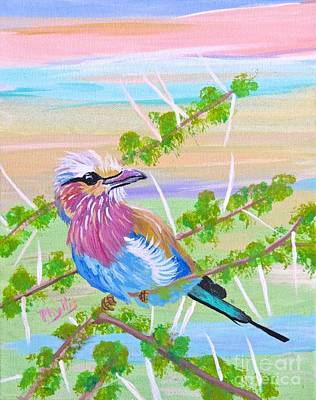 Painting - Lilac Breasted Roller In Thorn Tree by Phyllis Kaltenbach